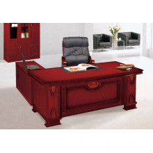 Mesa de computador de escritório de grande porte de madeira com forma de L