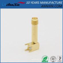 Conector de soldadura hembra SMA de rosca larga en ángulo recto Goldplated con adaptador de receptáculo de PCB