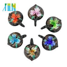 MC0043 3D Flower Heart Lampwork Glass Pendants Handmade Necklace Pendant Necklaces