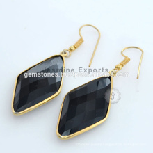 Wholesale Supplier Of Designer Gold Plated Black Onyx Silver Gemstone Earring For Christmas