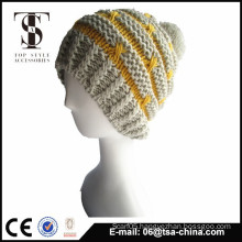 100%acrylic jacquard design winter knitted beanie hat for girl