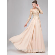 Alibaba Sexy Long New Designer Long Sleeve Champange Color Chiffon Beach Evening Dresses Or Bridesmaid Dress with Backless LE33