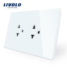 Livolo AU Standard UE et États-Unis Prise de courant Prise de courant murale avec panneau en verre de cristal blanc VL-C9C2EA-11