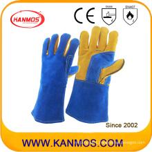 Fine Blue Cow Split Leather Industrial Safety Welding Work Gloves (11109)