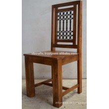 Solide Mango Holz Eisen Jali Stuhl