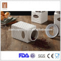 new design square ceramic canister tea coffee sugar set