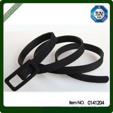 Black Skinny Leather Cloth Belt for Lady