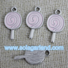Drop Pink & Blue Oil Wholesale Lollypop Metal Bead Pendants