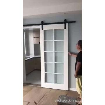 Made in china madeira deslizante porta de celeiro de vidro