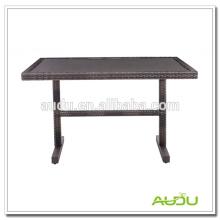 Mesa de comedor de acero inoxidable, Rectángulo de forma Rattan mesa de comedor