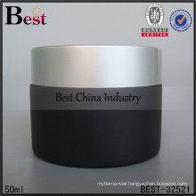 50ml frosted black glass jar with metal lid, logo printed, one free sample
