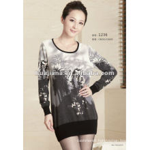 100% cashmere elegent ladies' sweater dress