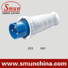 Enchufe industrial de 63A 220V, enchufe eléctrico masculino de 125A 3pin, enchufe industrial IP67 y zócalo