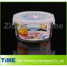 Conteneur de stockage de nourriture en verre à la forme ronde au micro-ondes