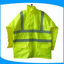 100% poliéster 300D Oxford PU revestimento reflexivo tráfego raincoat