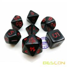 Custom 7pcs RPG Dice Set Black and Red
