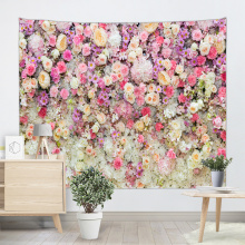 Pink Flower Group Tapestry Wall Hanging Rose Wall Tapestry Nature Elegant for Livingroom Bedroom Dorm Home Decor