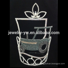 hot sell green rhinestone tractor pageant crown