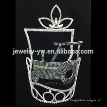 Coroa verde da representação histórica do trator do verde do rhinestone da venda