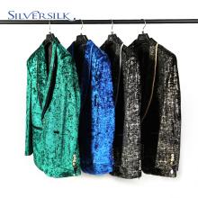 Velvent Print Kleid Jacke Schal Revers Mann Blazer