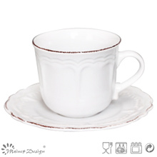 White with Brown Brush Ceramic Tea Cup and Saucer