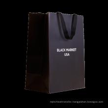 luxury stamping gold logo foldable black paper shopping bag