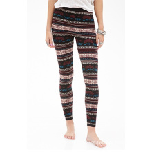 Floral Stripe Leggings with Elasticized Waist