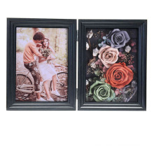 Modern Home Decoration Photo for Tabletop Display with Rose  4x6 White MDF  Preserved Fresh Flower Frame Shadow Box