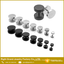 Hot selling Stainless steel Fake plug Tunnel Piercing to Screw Silver Black Plated