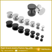 Venda quente aço inoxidável falso plug túnel Piercing de parafuso prata preto chapeado