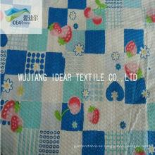 Impreso a puro 100% algodón Seersucker tela para la ropa