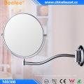 Espejo de baño de doble cara extensible redondo cromado