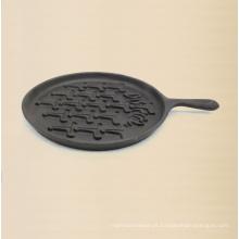 Placa de panqueca de ferro fundido com tamanho de alça 21 centímetros