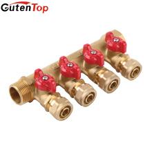 Gutentop Китай Поставка Отопление Сантехника Латунь Труба PEX Коллекторы С Шаровым Клапаном