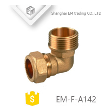 EM-F-A142 Female quick connector brass elbow pipe fitting for pvc pipe