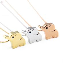 Девушки Ювелирные Изделия Симпатичные Нержавеющей Стали Розового Золота Шарм Ожерелье Слон Животных
