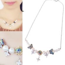 Forme a 24k la joyería plateada oro del collar del esmalte de la perla