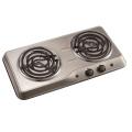 Stainless steel double burner hotplate