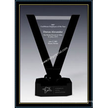 Placas con el premio Victoria de cristal de 10,5 pulgadas de altura con base de cristal negro (NU-CW728)