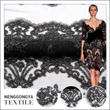Chinese supply customized black 100% polyester lace fabric for sale