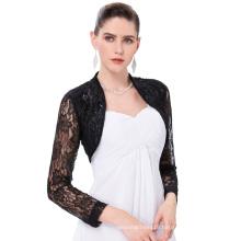 Belle Poque Womens Long Sleeve Cropped Black Lace Shrug Bolero BP000339-1