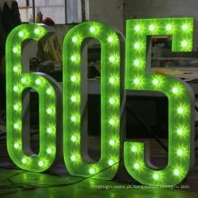 Letras e números da lâmpada da decoração para anunciar