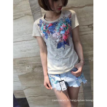 2017 été beaux vêtements de t-shirt en coton fleur de paillettes colorées