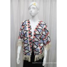 Леди мода печатных полиэстер трикотажные бахромой шелковая рубашка (YKY2213)