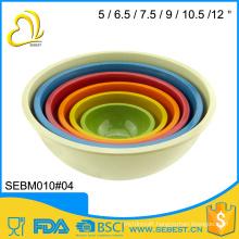 ODM and OEM cutom logo bamboo round melamine mixing bowl set