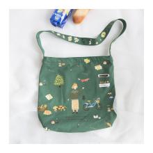 Promotion christmas unique design children's fun canvas bag large capacity student cotton printed bag