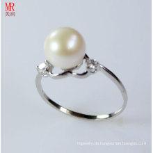 Herzform 925 Silber Sterling Silber Süßwasser Perle Ring (ER1606)