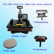 4 em 1 Multifuncional Combo T-Shirt de Impressão de Calor Máquina Da Imprensa CE Aprovado Combo Multifunções de Transferência De Calor Máquina Stc-SD08
