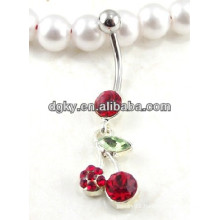 Beautiful cherry dangle belly button rings piercing jeweled