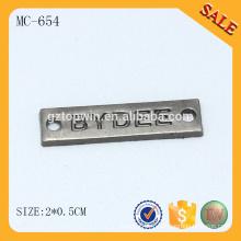 MC654 logo de tissu de luxe logo métal étiquettes de noms vierges